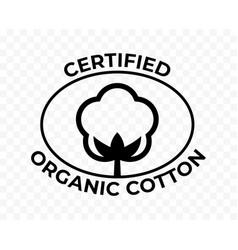 Organic cotton certificate icon cotton flower vector