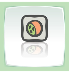 outline sushi roll with raw fish japan food icon vector image