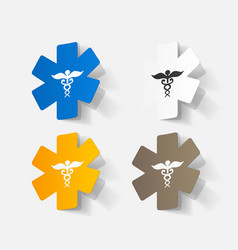 Paper clipped sticker symbol medical care vector