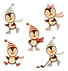 Penguins ice skating vector image