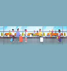people in airport travelers with baggage at vector image