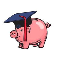 Piggy bank in graduation hat vector