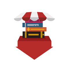 Pile ebooks with arrow download and parasol vector