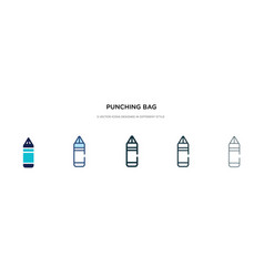 Punching bag icon in different style two colored vector