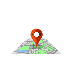 red marker pointer with road map gps navigator vector image