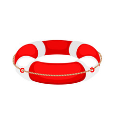 Red white lifebuoy isolated on white background vector