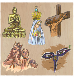 Religion around the world - an hand drawn vector