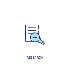 Research concept 2 colored icon simple line vector