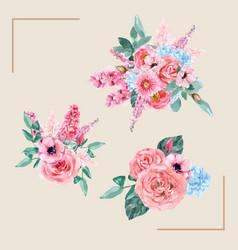 Retro style floral charming bouquet design vector