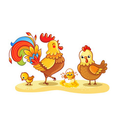 Rooster with chicken and chickens is walking vector