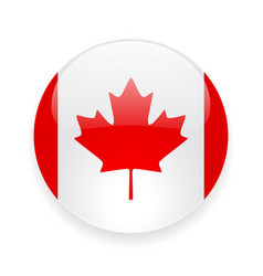 Round icon with flag canada vector