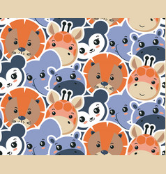 seamless pattern with cute african animal vector image