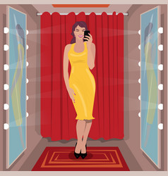 selfie yellow dress in fitting room vector image