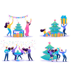set 2d flat staff have fun on christmas vacation vector image