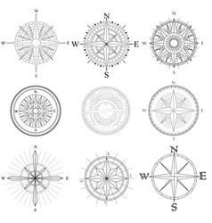 set of artistic compass vector image