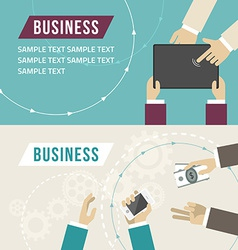 Set of flat design Business hands touch di vector image