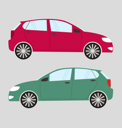Set of two isolated cars in flat style red and vector