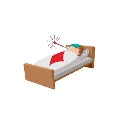 Sick man in the bed cartoon icon vector image