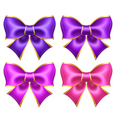 Silk ultra violet and pink bows with golden border vector