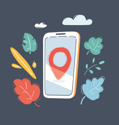 smartphone with location mark vector image