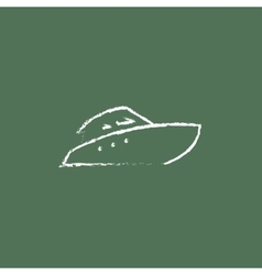 Speedboat icon drawn in chalk vector image