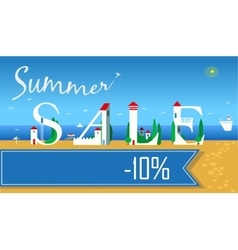 Summer Sale Ten percents Summer beach vector