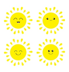 Sun shining icon set Kawaii face with different vector image