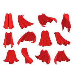 Superhero red cape scarlet fabric silk cloak in vector