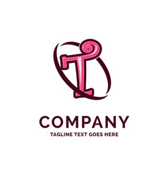 t company name design pink beautity logo design vector image