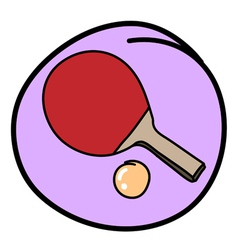 Table tennis bat with ball on purple round vector