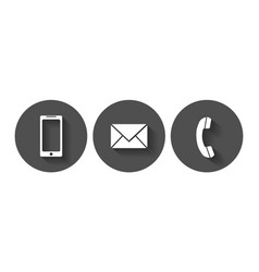 telephone sms icons flat icon with long shadow vector image