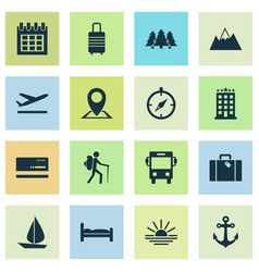 traveling icons set with bus sunset anchor and vector image