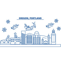 Usa oregon portland winter city skyline merry vector