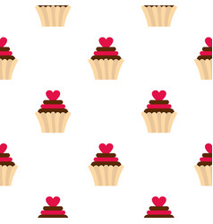 valentine cupcake pattern seamless vector image