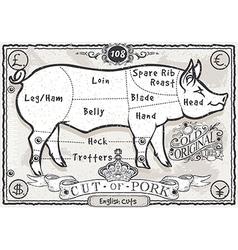 Vintage page english cut pork vector