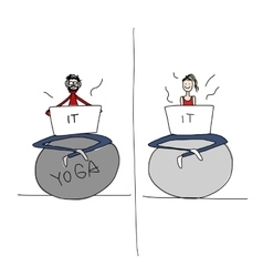 Yoga at work people with laptop for your design vector
