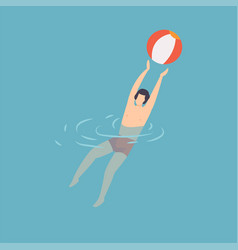 young man swimming and playing with ball in water vector image