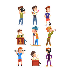 young teenagers hobby set cartoon kids characters vector image