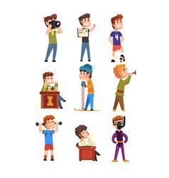Young teenagers hobset cartoon kids characters vector