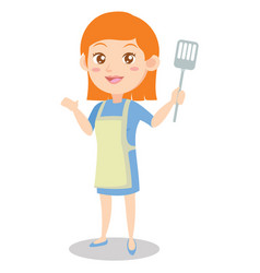 character of housewife cooking design vector image