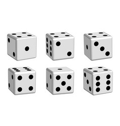 dice white set in 3d view vector image vector image