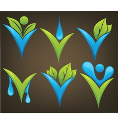 drop and leaves signs and marks vector image