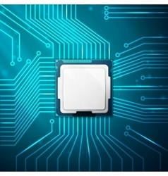 electronic circuit board with processor vector image