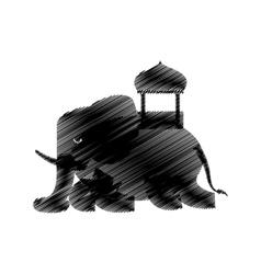 hand drawing elephant sketch design vector image