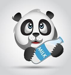 Icon panda with milk vector image