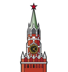 Kremlin tower with clock in moscow vector
