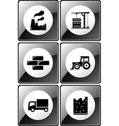 set of glossy industrial icons vector image