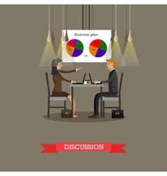Business discussion in office with financial pie vector image vector image