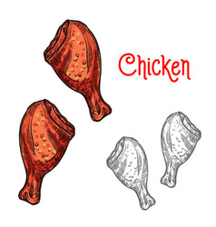 chicken or turkey leg sketch of fried poultry meat vector image vector image