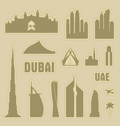 dubai uae city icon symbol silhouette set vector image